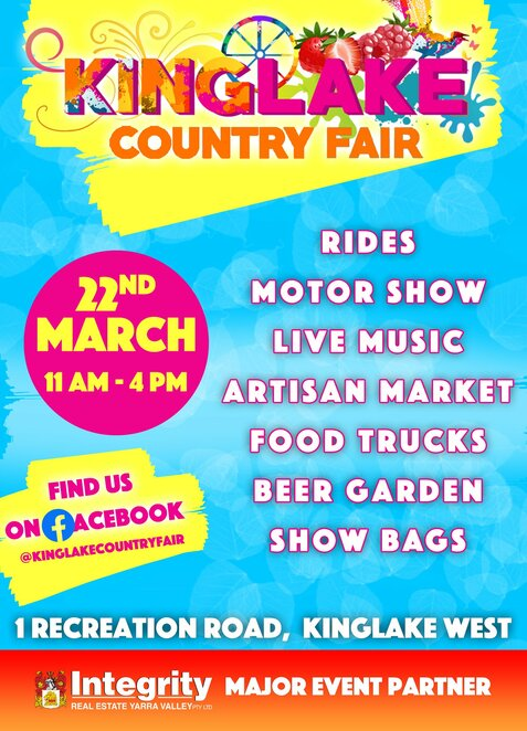 2020 kinglake country fair, community event, fun things to do, integrity real estate, recreation road, carnival rides and games, market stalls, food trucks, face painting, pony rides, community group stalls, demonstrations, main stage, live music, performances, king and queen of the mountain race, family fun, family friendly, fun for kids
