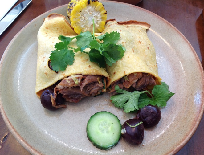 BBQ duck crepes
