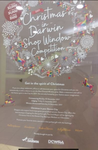 Christmas, Darwin, darwin CBD, CBD, shops, shops in Darwin CBD, competition, 2017 Christmas in Darwin Shop Window Competition