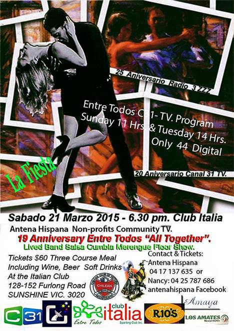 club italia sporting club, sunshine, 19 anniversary entre todos, all together, live bands, salsa cumbia merengue floor show