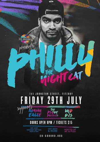 co ground, australian charity, hip hop events melbourne, the night cat fitzroy