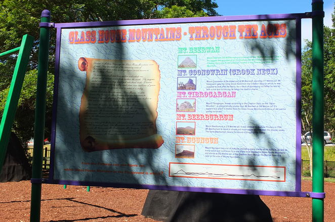 Glasshouse Mountains Visitor and Interpretive Centre, maps, brochures, itineraries, interpretive centre, interactive displays, small selection of gifts, souvenirs, childrens' playground, barbecue, picnic tables, toilets, off-street car parking