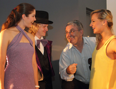 Ian Westrip, second from right, with auditionees Caitlin Rowe, Callum Vinsen and Samantha Lane