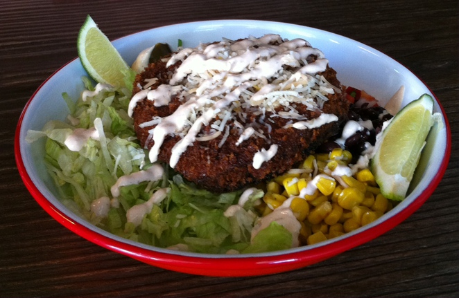 mexican salad bowl with crumbed mushroom