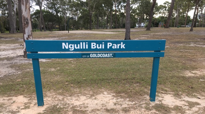 Ngulli Bui Park, Gold Coast, Picnic tables, Picnic Spot, Dog Walking, Olsen Avenue, Harbourtown, dog walking, walking track, playground, swings, sign,