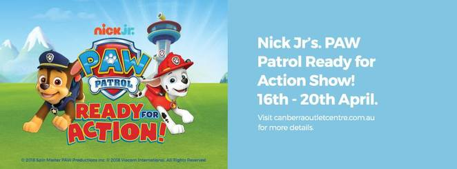 paw patrol, canberra outlet centre, canberra, school holidays, autumn, april, 2018, whats on, kids, toddlers, preschoolers, primary school, shopping centres, ACT, fyshwick,