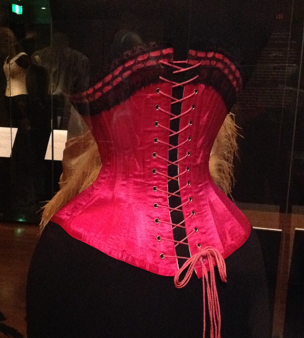 pink satin corset bendigo art gallery undressed: 350 years of underwear in fashion