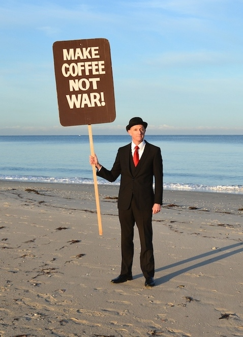 Surreal Seaside Protest, Andrew Baines, Adelaide, free, Henley , Henley Beach, artist, Dachshund, surreal, ironic signs