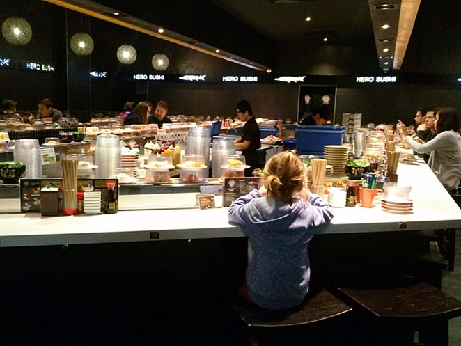 sushi train, hero sushi, canberra centre, ACT, family friendly, dinner, lunch, kids, children, cheap,