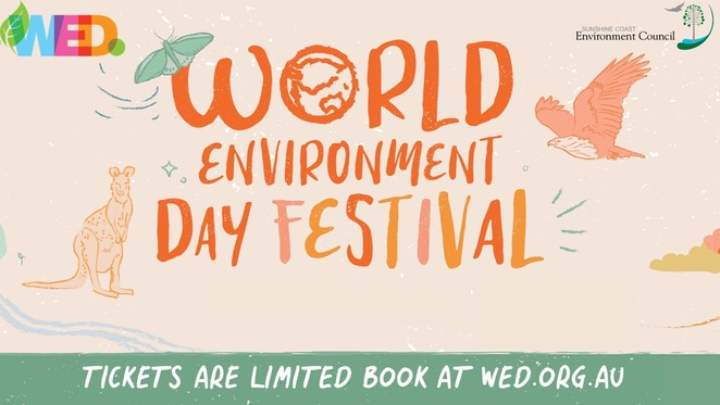 World Environment Day Festival 2021, WED, ecosystem restoration, global platform, United Nations' Decade on Ecosystem Restoration, Sunshine Coast's biggest environmental event, longest running event, WED Festival all over coast, Fairhill Native Nursery, Maroochy River in Cotton Tree, Eumundi Markets, University of the Sunshine Cast, 45 events, Coastal, Wetland, Community, Rainforest, Regenerative Agriculture, Sand Island Stopover Tour, Noosa, Noosa Integrated Catchment Assocation (NICA), Healthy Land & Water, restore Noosa River's shorebird habitat, 12 month project, 3 hour boat trip on Noosa River, morning tea, Yaroomba Coastal Restoration, weeding, planting, chin-wagging, Mudjimba Coastal Restoration, how to remove Asparagus Fern, Caloundra Spring into Scavenge, Visionary Ocean Warriors, connect with community, clean up, exchange litter for pre-loved clothing, books, toys, funky live tunes, if unwell stay at home, Sunshine Coast Environmental Council acknowledges Kabi Kabi and Jinibara people
