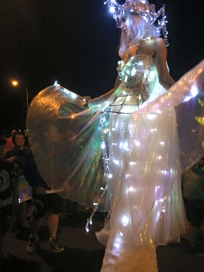 wynnum manly remax illumination festival stilt walker light