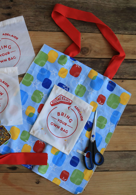 boomerang bags adelaide plastic free sustainable handmade reusable sewing