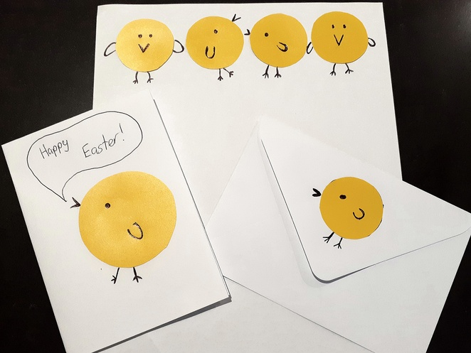 easter craft, chicks, easy, easter, paper crafts, stationary, blank cards, chickens, how to, riany day, school holidays, australia, letter writing,