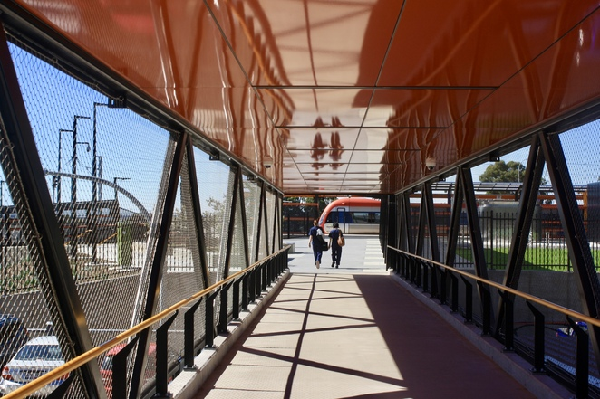 The new Flinders station is accessed via a walkway - image Jenny Esots