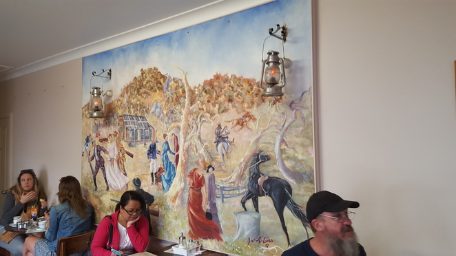 Painting of Ned Kelly's Life, Linda's Billy Tea Rooms