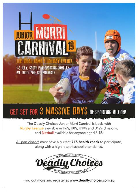 junior murri carnival 2019, community event, fun things to do, deadly choices, free event, culture, health and wellbeing, sport, education, south pine sports complex, rugby league, for young kids and teenagers, a full day of health event, activities