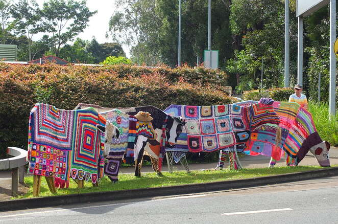 Knitfest Yarn and Fibre Arts Festival, Maleny, There's a Dragon in my Garden, yarn lovers, yarn bombing, workshops, music, trade stalls, craft markets, explore hidden talents, knitting, crocheting, basket weaving, spinning, weaving, felting, competitions, prizes, Needle Felt Toadstools, Animal Armature for Needle Felting, Wet Felted Baby Slippers, Create a Wet Felted Wool Glasses Case, Criss-Cross Crochet Hexagon Medallions, Crochet Crocodile Stitch, Learn to Latvian Braid, Fair Isle, Crochet Covered CD Discs, Crochet 3D Butterflies, Wardrobe Surgery, Drop Spindle Spinning, Silk Basket Making, Off-set Granny Square, Crochet Spirals, Botanical Dyeing-Bundle Method, Botanical Dyeing-Extraction Method, Kids Club, Fluffy Beasties and mythical critters, magical, Crafty Jane, yarn-bombed bus, wheelchair friendly, disability friendly
