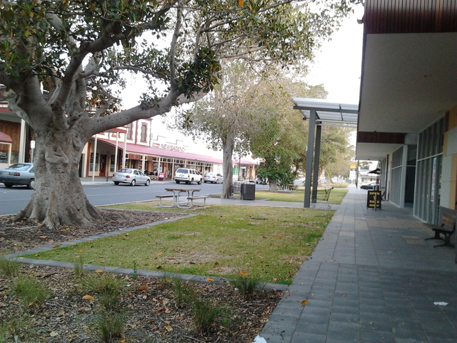 Owen Tce Wallaroo, main street Wallaroo, treed street, country town, main street shops, Foodland Wallaroo