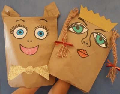 A paper bag is all you need to make these cute puppets.