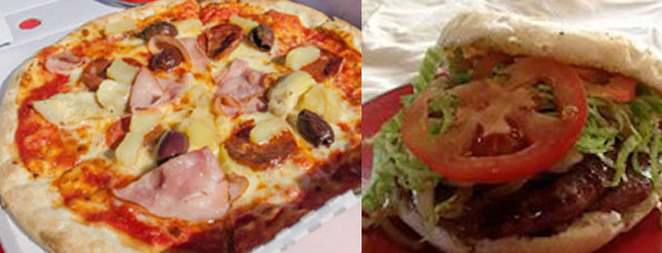 Pizza and Hamburger