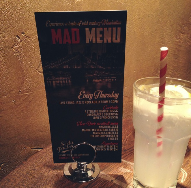 soda factory mad menu