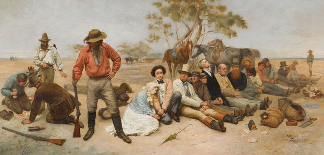 William Strutt, 'Bushrangers, Victoria, Australia, 1852' (detail), 1887, oil on canvas, The University of Melbourne Art Collection, gift of the Russell and Mab Grimwade Bequest, 1973
