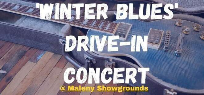 Winter Blues Drive-In Concert, local musicians, Rotary Club of Maleny, Maleny, Maleny Community Grants scheme, local organisations, large screen with visuals, Kevin Borich Express, Vix and the Slick Chix, Spirit Blues Band, Accidentally on Purpose, Maleny Hotel, indoor SOLD OUT, cars ONLY $50, come for the night, stay for the weekend, it's time to party