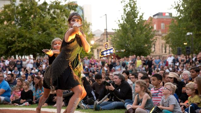adelaide fringe opening night party, community event, fun things to do, karrawirra parri, river torrens, adelaide night markets, community event, fun things to do, artists performances, entertainment, light projection project, yabarra, gathering of light, music sa, frusic, fringe caravan stages, tindo utpurndee, sunset ceremony, shows, gigs, nightlife, date night, magical, mythical,