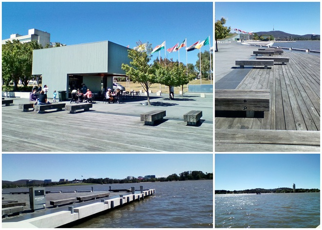 elixer, coffee hut, lake burley griffin, queen elizabeth terrace, cafes with views, lake burley griffin, international flag display,