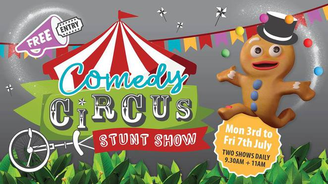 FREE Comedy Circus Stunt Show, The Ginger Factory, Yandina, greatest show on earth, Comedy Circus Stunt Man, Joel Fenton, contortions, juggling, comedy tricks, ride Moreton, historical train, travel the world with Overboard, boutique shops, enclosed childrens' play area, Super Bee Tour