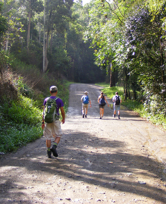 A lot hikers on a day trip will park their car up the road and walk in