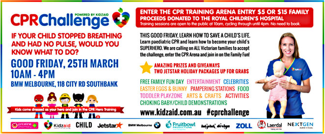 KidzAid CPR challenge, BMW melbourne showroom, good friday appeal, fundraiser, melbourne's royal children's hospital, paediatric first aid training, easter egg hunt, kids activities, raffles, fundraiser, lucky door prize, jetstar holiday packages
