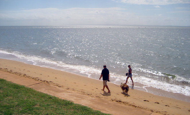 A couple and their dog having a relaxing stroll on Margate Beach
