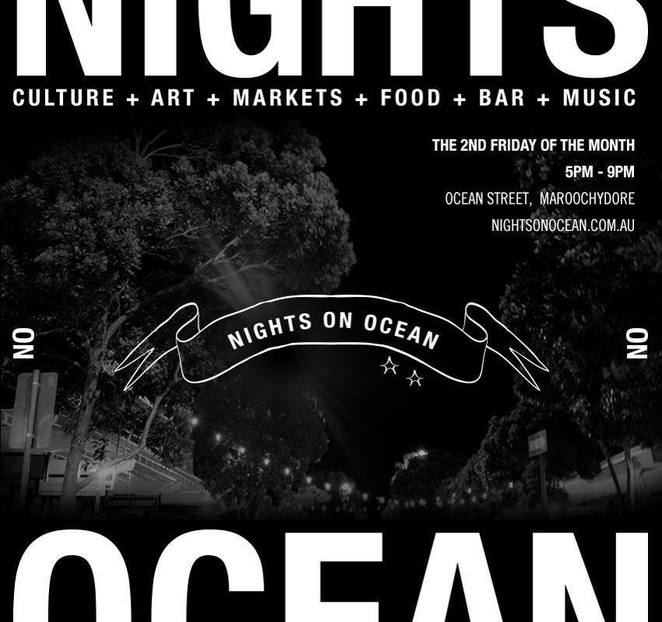 Nights on Ocean, summer festive season, Friday 9 November, dazzling night-time markets, entertainment hub, market stalls, performers, street food, vibrant cultural hub, music, arts and culture, restaurants, bars, boutique industries, Sunshine Coast designers, artists, performers, producers, fun-filled night, family, stallholder applications, handmade, jewellery, organic, environmentally friendly, vintage, health, wellbeing, gourmet take-home food, street food
