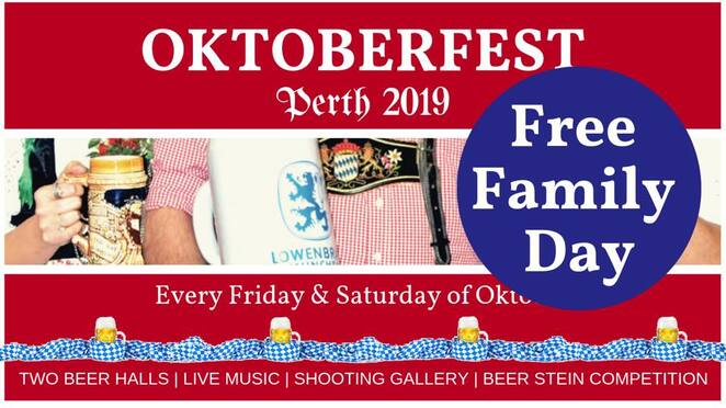 oktoberfest perth 2019, community event, fun things to do, cultural event, rhein-donau club myaree, dirndl, leederhosen, kids entertainment, traditional german food, live music, shooting hall, fun and games, free family day, german restaurant, german bars, kids beer stein holding competition, edelweiss dance group