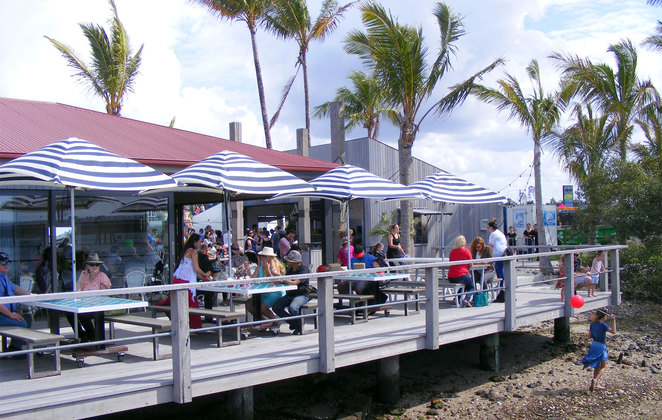 The deck of the Oyster Shed overlooking Pumicestone Passage and Bribie Island