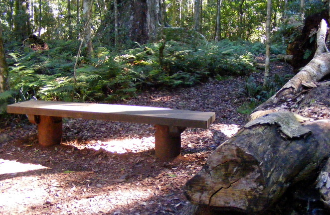 This bench marks where the Python Rock Track links to the Pat's Bluff Track