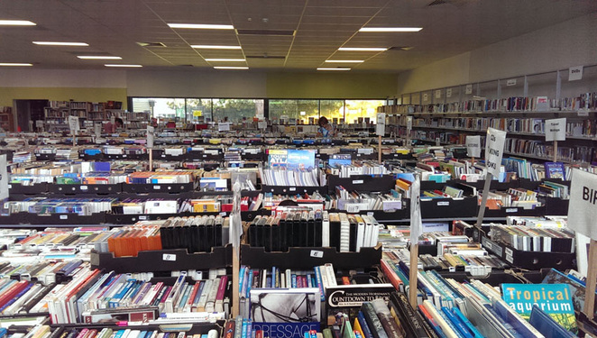 Scroungers Winter Garage Sale 2017 showing the expansive Book Bazaar interior