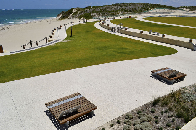 shorehaven waterfront park beach ocean white sand blue sun loungers showers Perth WA