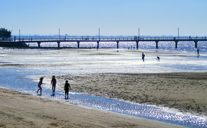 Shorncliffe Beach and Jetty at low tide