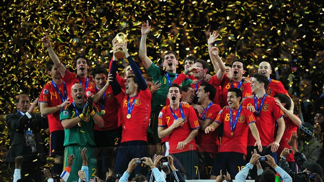 Spain celebrate winning the 2010 FIFA World Cup