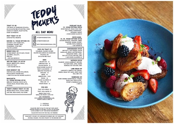 teddy pickers, campbell, canberra, ACT, breakfast, menu, lunch, specials, croissant, ACT, best coffee,