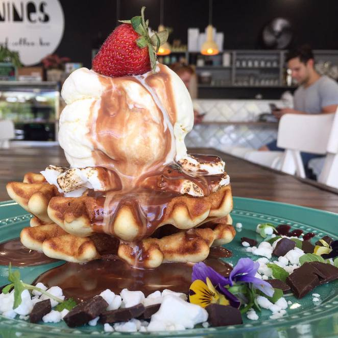 The Nines Emporium, Maroochydore, one of six favourite breakfast outlets on Sunshine Coast, food, coffee, waffles, loaded shakes, death by chocolate, bar facilities, little mexican burger, open seven days, venue hire for functions and parties