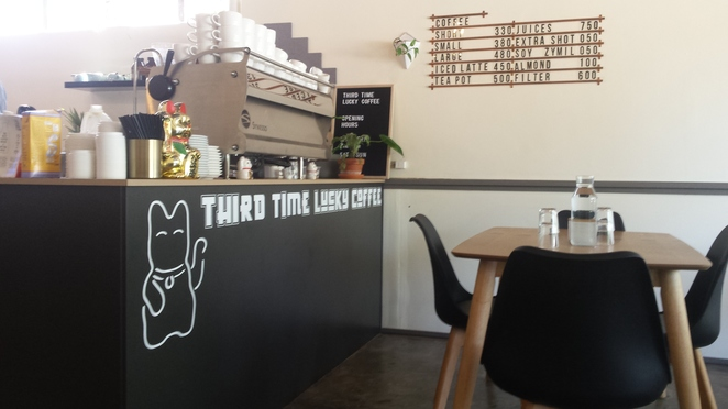 Third time lucky, cafe, coffee shop