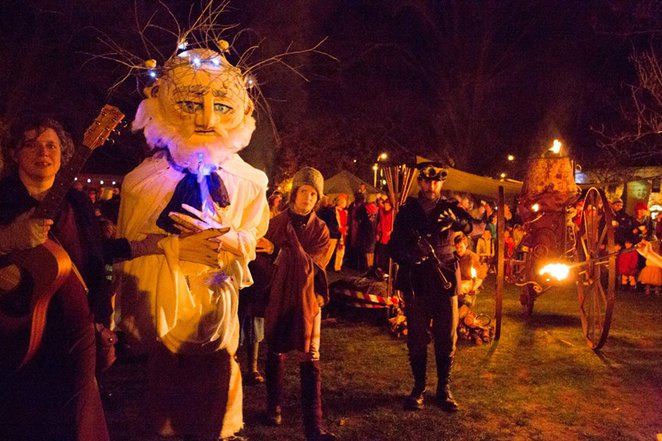 village winter festival, castlemaine, winter solstice, music, physical theatre, circus, storytelling, visual art, the famous village dog show, sideshow carnival, dance parties, storytelling, victory park, steampunk theatre, puppetry, pyrotechnics, walking tour, rascal maine stage