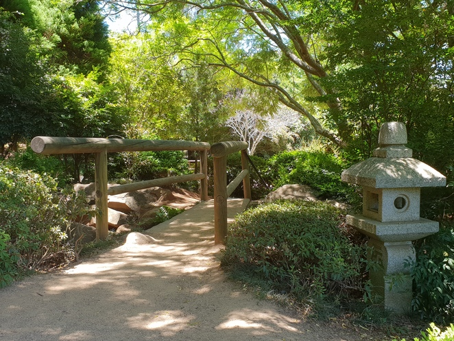 Wooden bridges and oriental statues are a gorgeous feature throughout the garden