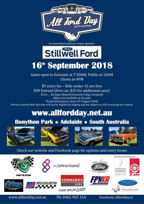all ford day south australia, stillwell ford, bonython park, commumity event, fun things to do, static car show, ford vehicles, fun for kids, kids entertainment, activities, food stalls, market stalls, shannons, sa structural pty ltd, garage twenty one, kennards hire, aaa exhausts