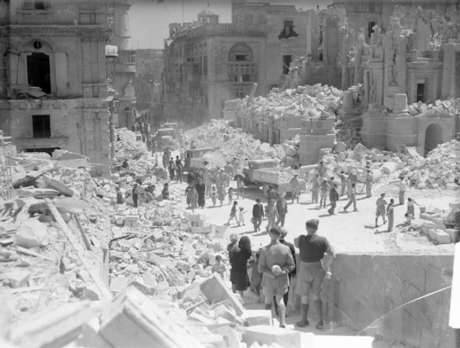 Bomb damaged Malta courtesy of Wikimedia