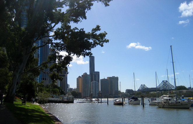 The view of Eagle Street Pier from the City Botanic Gardens