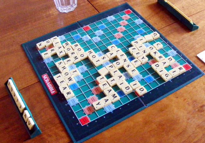 Scrabble, it is like the offline version of Words with Friends